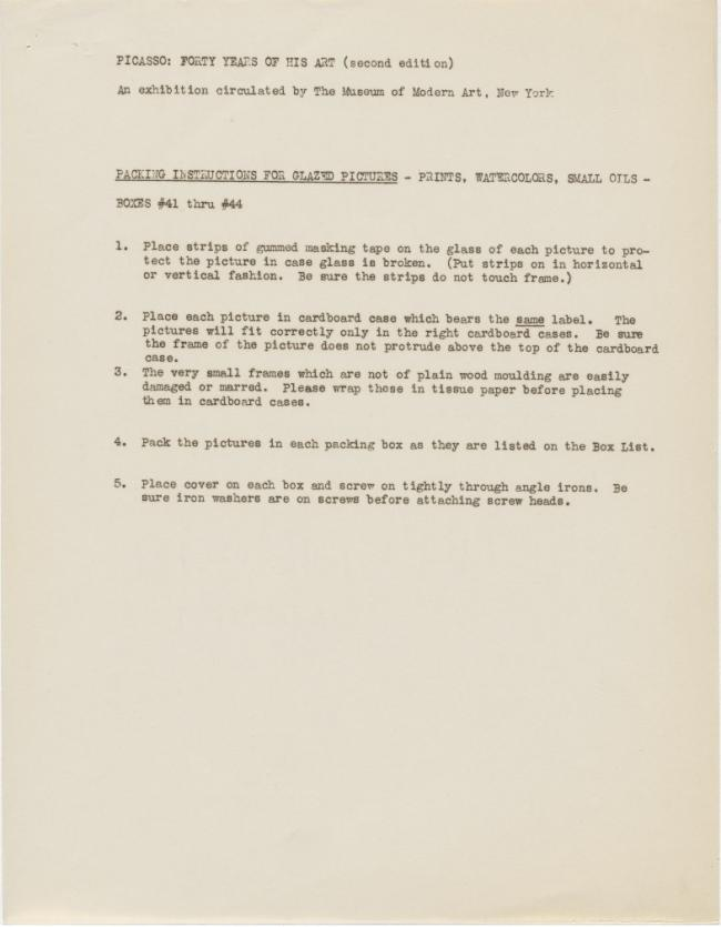 Packing instructions for the exhibition Picasso: Forty Years of His Art (second edition)