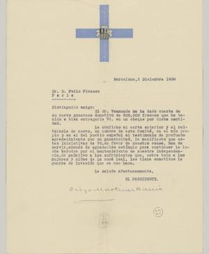 The National Committee for Spanish Aid's letter to Pablo Picasso