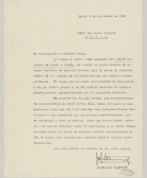 José Lino Vaamonde's letter to Pablo Picasso