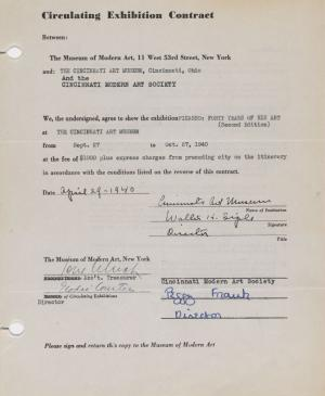 Circulating exhibition contract for Picasso: Forty Years of His Art, (second edition), between the Museum of Modern Art, New York, and the Cincinnati Art Museum
