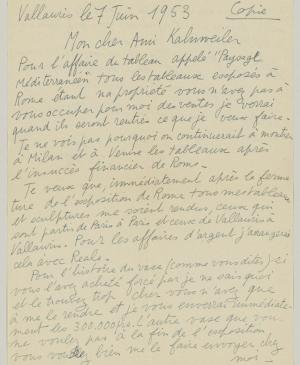 Pablo Picasso's letter to Daniel-Henry Kahnweiler, dated 7 June 1953
