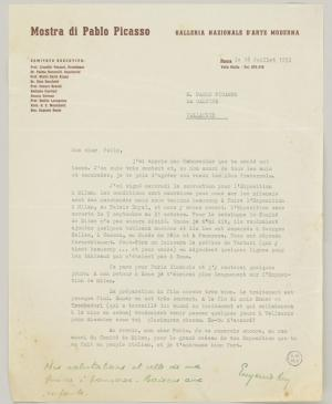 Eugenio Reale's letter to Pablo Picasso, dated 18 July 1953