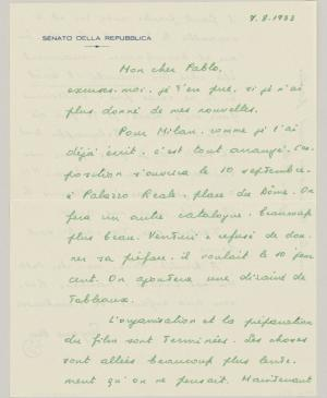 Eugenio Reale's letter to Pablo Picasso, dated 7 August 1953