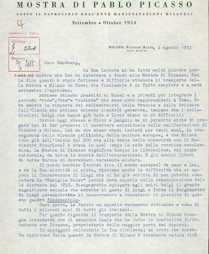 A letter from Fernanda Wittgens to Willem Sandberg, dated 4 August 1953