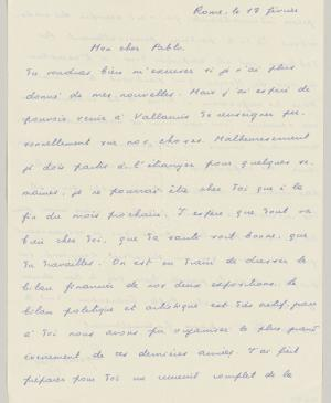 Eugenio Reale's letter to Pablo Picasso, dated 18 February 1954