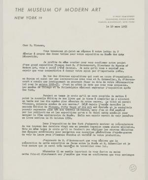 Alfred H. Barr Jr.'s letter to Pablo Picasso, dated 10 March 1955