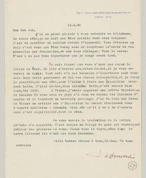 Daniel-Henry Kahnweiler's letter to Pablo Picasso, dated 13 April 1956