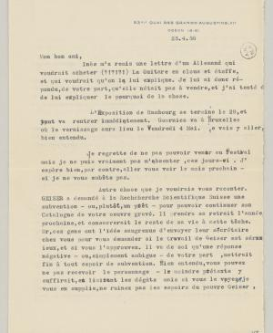 Daniel-Henry Kahnweiler's letter to Pablo Picasso, dated 25 April 1956