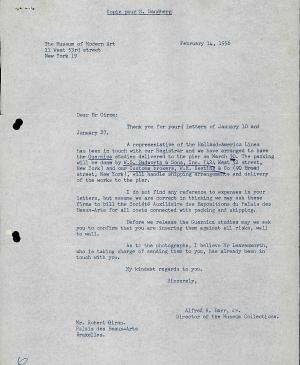 Alfred H. Barr Jr.'s letter to Willem Sandberg