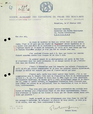 Robert Giron's letter to Willem Sandberg, dated 17 February 1956