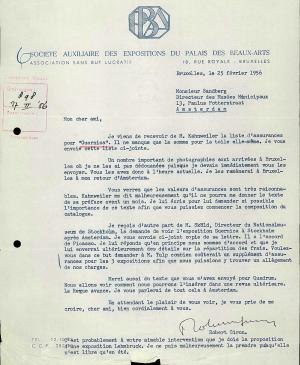 Robert Giron's letter to Willem Sandberg, dated 25 February 1956