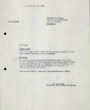 Willem Sandberg's letter to Robert Giron, dated 11 January 1956