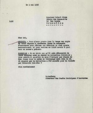 Willem Sandberg's letter to Robert Giron, dated 4 May 1956