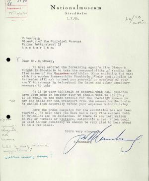 Bo Wennberg's letter to Willem Sandberg, dated 1 October 1956