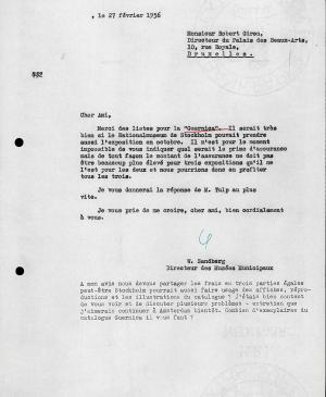 Willem Sandberg's letter to Robert Giron, dated 27 February 1956