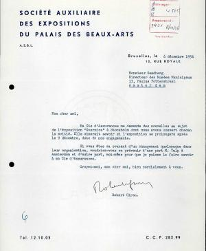 Robert Giron's letter to Willem Sandberg, dated 6 December 1956