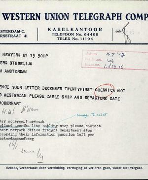 A telegram from Willem Sandberg to Alfred H. Barr Jr.
