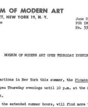 The Museum of Modern Art is open Thursday evenings