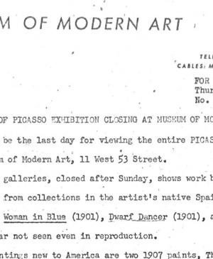 Section of Picasso exhibition closing at the Museum of Modern Art