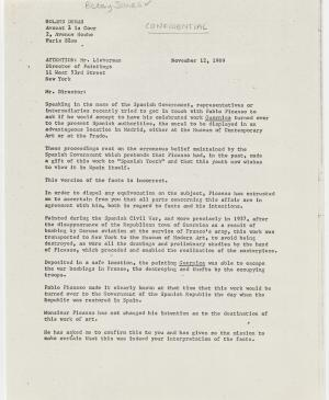 A letter from Roland Dumas to William S. Lieberman, dated 12 November 1969