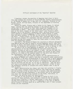 An internal letter on the departure of Guernica  from the Museum of Modern Art, New York