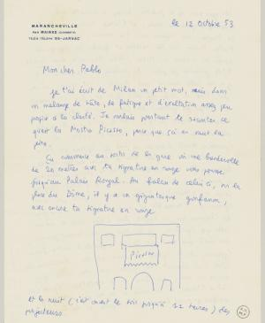 Claude Roy's letter to Pablo Picasso, dated 12 October 1953