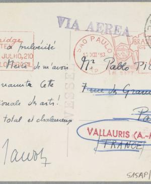 A postcard from Maurice Jardot to Pablo Picasso