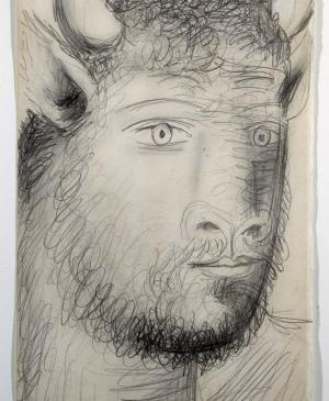 Bull Head with Human Face. Sketch for Guernica
