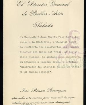 Letter from Josep Renau to Juan Negrín