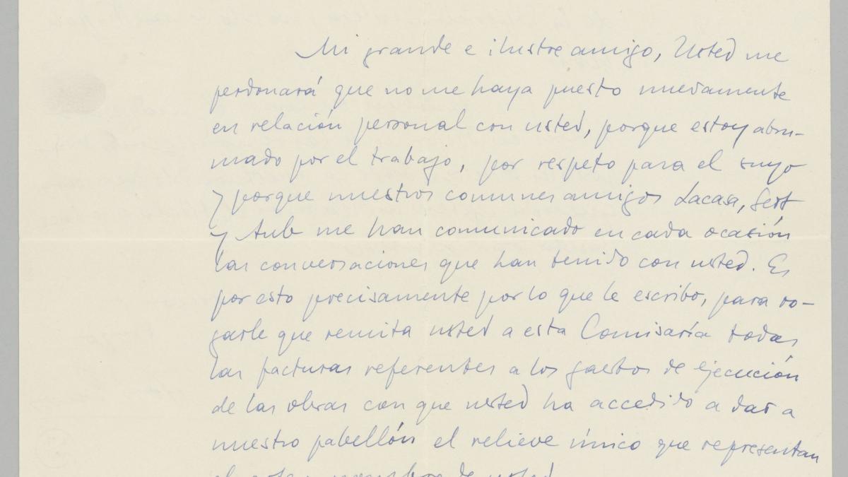 Carta de José Gaos a Pablo Picasso