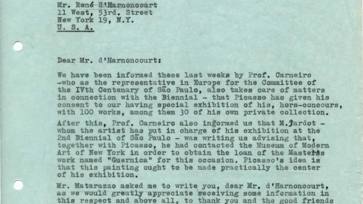 Carta de Arturo Profili a René d'Harnoncourt