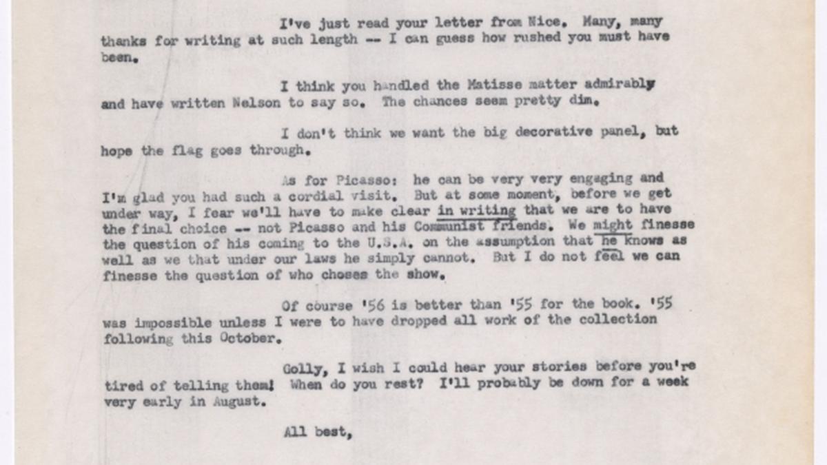 Carta de Alfred H. Barr Jr. a René d'Harnoncourt del 10 de julio de 1954