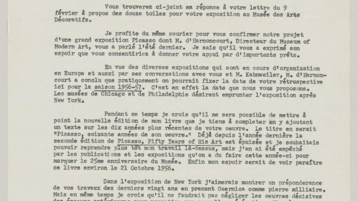 Carta de Alfred H. Barr Jr. a Pablo Picasso del 10 de marzo de 1955