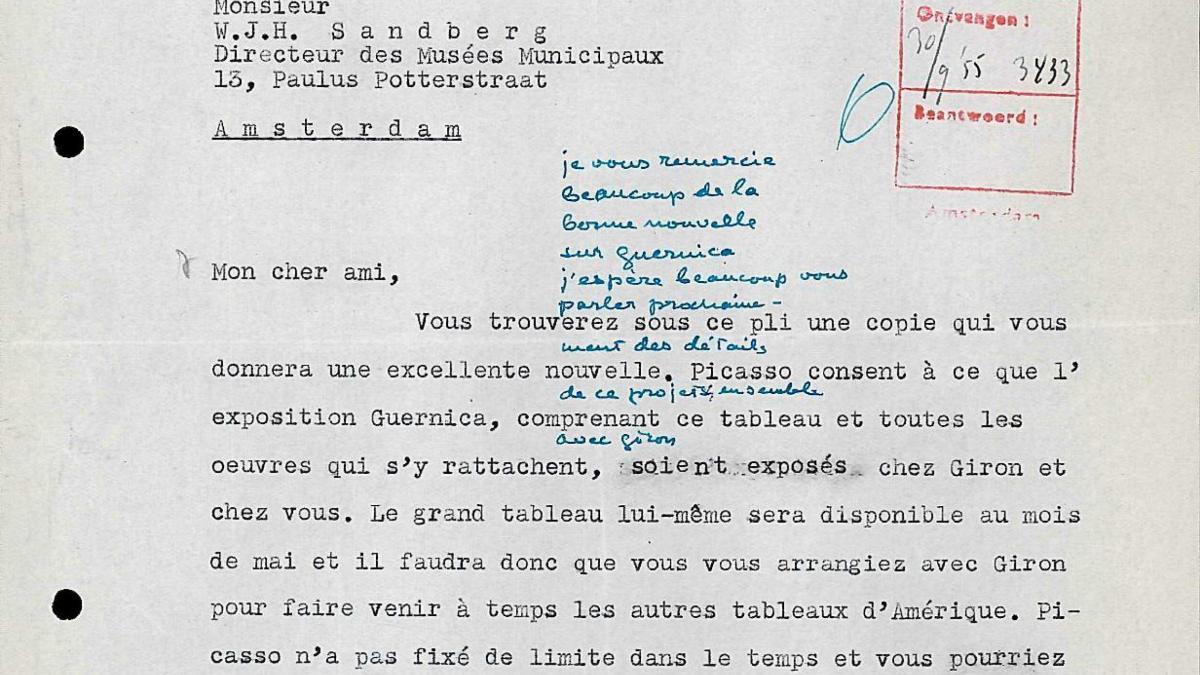 Carta de Daniel-Henry Kahnweiler a Willem Sandberg