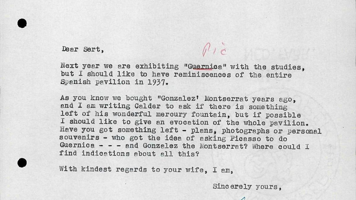 Carta de Willem Sandberg a Josep Lluís Sert