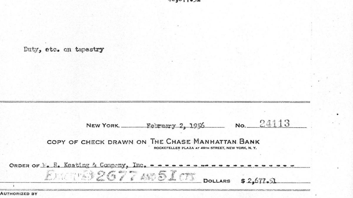A cheque from Nelson Rockefeller to W. R. Keating & Company for the delivery of the replica Guernica tapestry