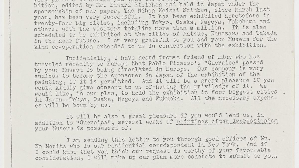 Carta de Jiro Enjoji a René d'Harnoncourt