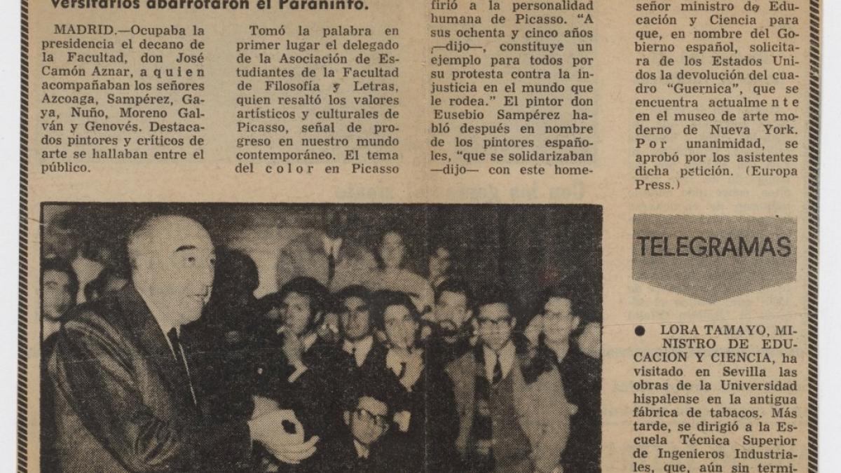Homenaje de la universidad a Picasso