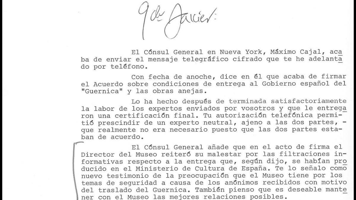 Carta de Carlos Robles Piquer a Javier Tusell del 3 de septiembre de 1981