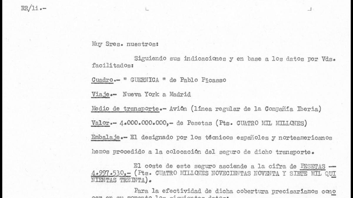 Presupuesto del seguro del traslado de Guernica a españa